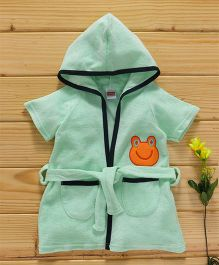 Babyhug Short Sleeves Hooded Bath Robe Froggy Patch - Mint Green