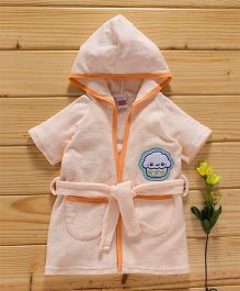 Babyhug Short Sleeves Hooded Bath Robe Owl Embroidery - Peach