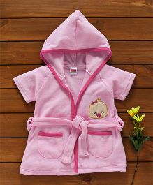 Babyhug Short Sleeves Terry Hooded Bathrobe Bird Face Patch - Pink