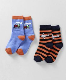 Cute Walk by Babyhug Striped & Train Design Anti Bacterial Socks Pack Of 2 - Blue Orange