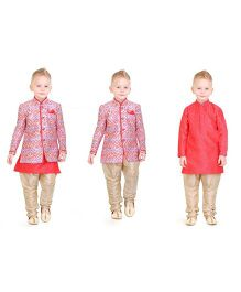 Ethnik's Neu-Ron Full Sleeves Kurta With Ethnic Jacket & Jodhpuri Pants - Pink