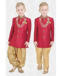 Ethnik's Neu Ron Kurta Pajama With Jodhpuri Breeches Set With Neck Piece - Maroon & Golden