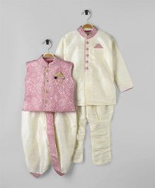 Ethnik's Neu-Ron Full Sleeves Kurta With Ethnic Jacket Dhoti & Pant Paisley Print - Pink & White