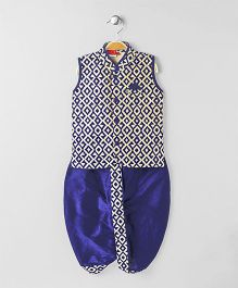 Ethnik's Neu-Ron Sleeveless Kurta With Dhoti Pant Paisley Print- Royal Blue