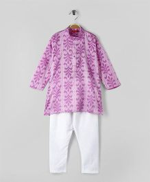 Ethnik's Neu-Ron Full Sleeves Kurta With Pajama Set Paisley Print - Purple