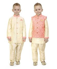 Ethnik's Neu Ron Full Sleeves Kurta Jacket And Pajama Set - Peach
