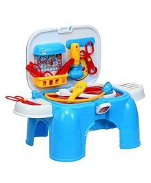 Toyshine Carry Along 2 in 1 Doctor Play Set With Sitting Stool Blue - 12 Pieces
