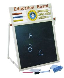 Toyshine 2 in 1 Magnetic Writing Board With Clock & Abacus - Multicolour