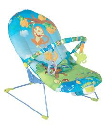 Mee Mee Musical Bouncer Monkey Print - Blue Light Green