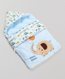 Mee Mee Hooded Carry Nest Elephant Patch - Blue