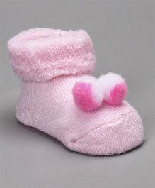 Cute Walk by Babyhug Socks Shoes With Pom Pom - Pink