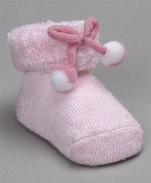 Cute Walk by Babyhug Socks Shoes With Pom Pom - Light Pink
