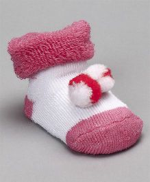 Cute Walk by Babyhug Socks Shoes With Pom Pom - Fuchsia
