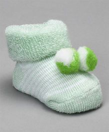 Cute Walk by Babyhug Striped Socks Shoes With Pom Pom - Green