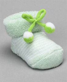 Cute Walk by Babyhug Striped Socks Shoes With Pom Pom - Green White
