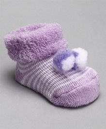 Cute Walk by Babyhug Socks Shoes With Pom Pom - Purple