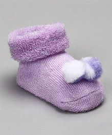 Cute Walk by Babyhug Socks Shoes With Pom Pom - Purple White