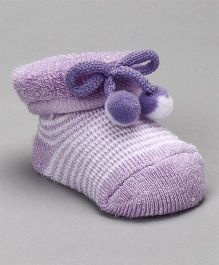 Cute Walk by Babyhug Striped Socks Shoes With Pom Pom - Purple