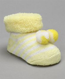 Cute Walk by Babyhug Striped Socks Shoes With Pom Pom - Light Yellow