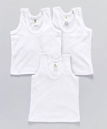 Cucumber Sleeveless Vests Pack of 3 - White