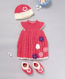 The Original Knit Colourful Flowers Dress Booties & Cap - Rose Pink
