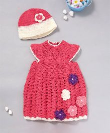 The Original Knit Colourful Flowers Dress & Cap - Rose Pink