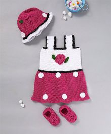 The Original Knit Flower & Petal Dress & Cap With Booties - Magenta & White