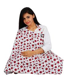 Lulamom Feeding & Nursing Cover Floral Print - Red & White