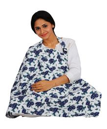 Lulamom Feeding & Nursing Cover Floral Print - Blue & White
