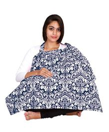 Lulamom Feeding & Nursing Cover Damask Print - Blue