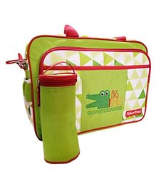 Fisher Price Snapy Diaper Bag With Bottle Holder - Green