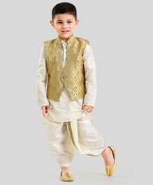 Babyoye Ethnic Wear Full Sleeves Kurta Jacket & Dhoti - Cream Beige