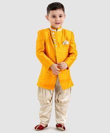 Babyoye Full Sleeves Sherwani With Pajama - Yellow