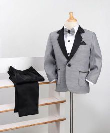 Babyoye 3 Piece Party Suit With Bow - Grey