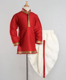 Babyoye Full Sleeves Kurta And Dhoti - Red White
