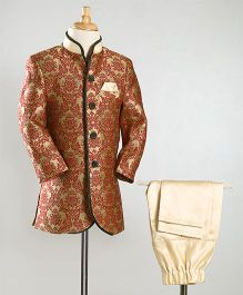 Babyoye Full Sleeves Sherwani With Pajama - Red & Beige