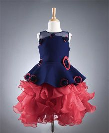 M'PRINCESS Peplum Style Floral Dress - Red & Navy