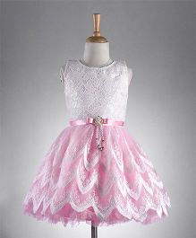 M'PRINCESS Sleeveless Party Wear Dress With Flower Applique - Pink & White