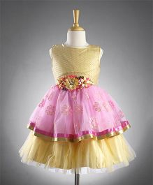 M'PRINCESS Flared Party Wear Dress - Pink & Fawn