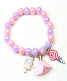 Asthetika Candy Ice-Cream Beads Bracelet - Pink & Purple