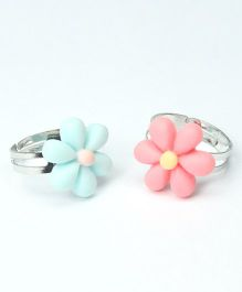 Asthetika Flower Rings Set Of 2 - Blue & Pink
