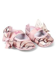 Barbie Booties Velcro Closure Bow Applique - Pink