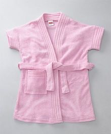 Babyhug Short Sleeves Bathrobe - Light Pink