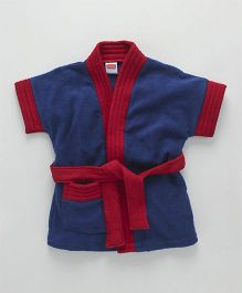 Babyhug Half Sleeves Terry Cotton Bathrobe - Navy Maroon