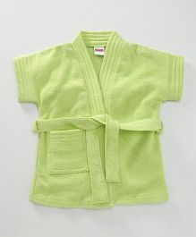Babyhug Half Sleeves Terry Cotton Bathrobe With Pocket - Light Green