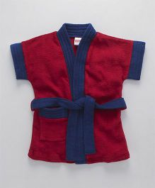 Babyhug Half Sleeves Terry Cotton Bathrobe - Maroon Navy