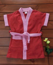 Babyhug Short Sleeves Bath Robe - Dark Pink