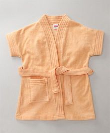 Babyhug Short Sleeves Bathrobe - Light Peach