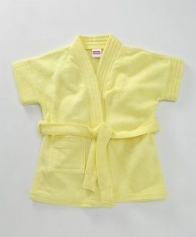 Babyhug Half Sleeves Terry Cotton Bathrobe With Pocket - Light Yellow