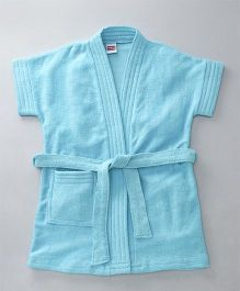 Babyhug Short Sleeves Bathrobe - Light Blue